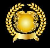 guirlande héraldique d'or d'écran protecteur de laurier illustration de vecteur