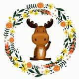 Guirlande mignonne d'orignaux et de fleur illustration stock