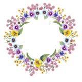 Guirlande mignonne romantique de fleur avec les branches et les feuilles vertes Illustration d'aquarelle sur le fond d'isolement  illustration libre de droits