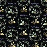 Guirlande naturelle verte noire Berry Branch de feuille illustration libre de droits