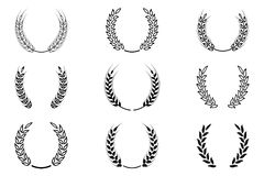 Guirlande noire de laurier - un symbole du gagnant Oreilles de blé ou icônes de riz réglées Image stock