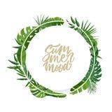 Guirlande ou guirlande ronde faite en feuilles de palmier ou feuillage d'humeur d'été d'usines et de lettrage de forêt tropicale  illustration libre de droits