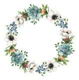 Guirlande peinte à la main de fleurs et de Succulents d'aquarelle Photo stock
