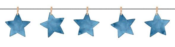 Guirlande qu'on peut répéter sans couture avec de petites étoiles bleu-foncé décoratives accrochant sur la corde à linge illustration libre de droits