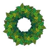 Guirlande ronde des feuilles vertes Photos stock