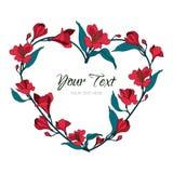Guirlande rose de fleurs Illustration botanique de coeur Pour épouser, invitation, valentines Carte de félicitation d'histoire d' Image libre de droits