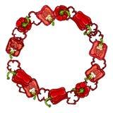 Guirlande rouge de Bell Peper Moitié de paprika et d'anneaux doux des coupes de poivre Guirlande mûre fraîche de légumes crus veg Photo libre de droits