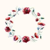 Guirlande rouge de pavots d'aquarelle Images stock