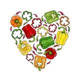 Guirlande rouge, orange, jaune, verte de forme de coeur de Bell Peper Moitié de paprika et d'anneaux doux des coupes de poivre Cr Photo stock