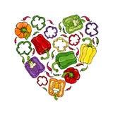 Guirlande rouge, orange, jaune, verte, pourpre de forme de coeur de Bell Peper Moitié de paprika et d'anneaux doux des coupes de  Photo stock