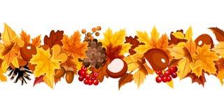 Guirlande sans couture horizontale avec les feuilles d'automne colorées Illustration de vecteur illustration libre de droits