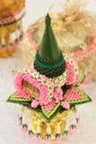 Guirlande thaïlandaise, pour le mariage thaïlandais sur le plateau d'or Image stock