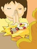 Guirlande thaïlandaise, respect de salaire de guirlande de fleur à Bouddha Images stock