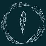 Guirlande tirée par la main des plumes sur le fond vert-foncé Photo libre de droits