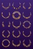 Guirlandes d'or de laurier sur le fond violet Placez de la guirlande foliée de récompense pour le championnat ou le festival de c illustration de vecteur