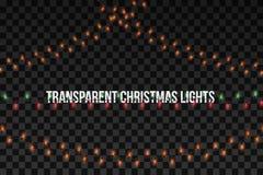 Guirlandes d'or rougeoyantes de Noël La partie allume des décorations d'isolement sur le fond transparent Illustration de vecteur illustration libre de droits
