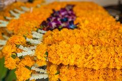 Guirlandes de fleur pour la cérémonie religieuse de Bouddha Photos libres de droits