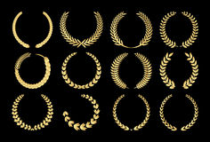 Guirlandes de laurier d'or illustration stock