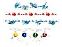 Guirlandes de Noël décoration Illustration tirée par la main d'aquarelle illustration libre de droits