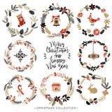 Guirlandes de salutation de Noël avec la calligraphie Éléments tirés par la main illustration de vecteur