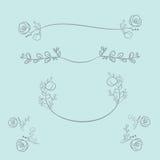 Guirlandes de vecteur et guirlandes de laurier Cadres ronds de vecteur de fleur H illustration stock