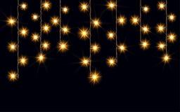 Guirlandes, effets de la lumière de décorations de Noël Éléments de conception de vecteur Lumières rougeoyantes pour la carte de  illustration stock