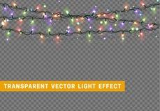 Guirlandes, effets de la lumière de décorations de Noël Images stock