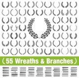 55 guirlandes et branches réglées Vecteur Photographie stock