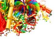 Guirlandes, flamme et confettis colorés Image libre de droits