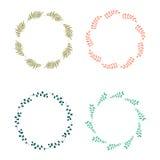 Guirlandes florales de cercle de vecteur tiré par la main illustration libre de droits