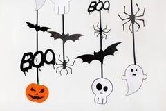 Guirlandes ou décorations de papier de partie de Halloween Photo libre de droits