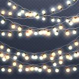 Guirlandes rougeoyantes de Noël, décorations lumineuses de vacances illustration de vecteur