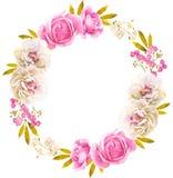 Guirnalda blanca rosada de la flor de la acuarela para casarse libre illustration