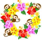 Guirnalda bonita de los monos del hibisco Imagen de archivo