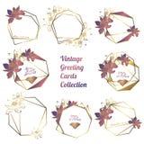 Guirnalda bot?nica de las flores de loto, guirnalda floral del vintage con el marco poligonal de oro libre illustration
