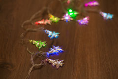 Guirnalda caliente del oro de la Navidad Fotos de archivo libres de regalías