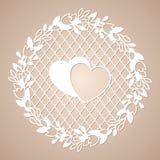 Guirnalda a cielo abierto de flores con dos corazones Plantilla de corte del laser libre illustration