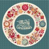 Guirnalda colorida de la Navidad con los juguetes de la Navidad Imagen de archivo libre de regalías