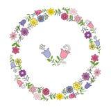 Guirnalda colorida de las diversas flores de la primavera Elementos individuales en un fondo blanco, ejemplo del dibujo de la man ilustración del vector