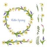Guirnalda colorida de las diversas flores de la primavera Objeto aislado en un fondo blanco libre illustration