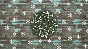Guirnalda con el cono del copo de nieve y del pino en el viejo fondo de madera azul claro - ilustraciones por día de la Navidad  libre illustration