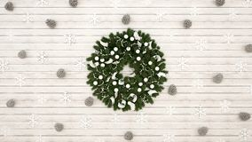 Guirnalda con el cono del pino y copo de nieve en el fondo de madera blanco - ilustraciones por día de la Navidad o Feliz Año N libre illustration