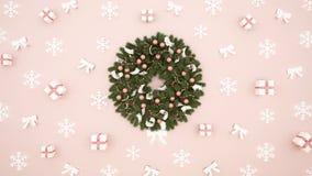 Guirnalda con la caja, el copo de nieve y la cinta de regalo en el fondo rosa claro - ilustraciones por día de la Navidad o Feli libre illustration