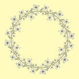 Guirnalda con las flores blancos y negros dibujadas mano stock de ilustración