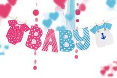 Guirnalda con los elementos del paño y de las letras para la fiesta de bienvenida al bebé imágenes de archivo libres de regalías