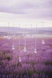 Guirnalda con los floreros en la forma del bombillas en un campo de la lavanda Foto de archivo libre de regalías