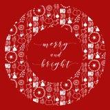 Guirnalda de Cristmas con el modelo del garabato Ilustración drenada mano del vector Arte simple de Navidad Tarjeta de felicitaci Fotos de archivo libres de regalías