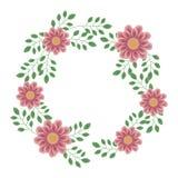 Guirnalda de flores y de ramas rosadas hermosas delicadas con las hojas verdes ilustración del vector