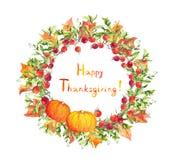 Guirnalda de la acción de gracias - calabazas, bayas, hojas de otoño Frontera redonda de la acuarela Fotos de archivo libres de regalías