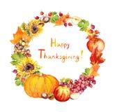 Guirnalda de la acción de gracias Frutas, verduras - la calabaza, manzanas, uva, se va watercolor Imagenes de archivo